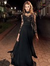 A-line High Neck Lace Chiffon Floor-length Appliques Lace Prom Dresses #Favs020106030