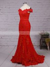 Trumpet/Mermaid Off-the-shoulder Floor-length Tulle Prom Dresses with Appliques Lace Sashes #Favs020102938
