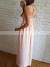 A-line V-neck Silk-like Satin Floor-length Appliques Lace Prom Dresses #Favs020106037