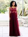 A-line V-neck Tulle Sequined Floor-length Prom Dresses #Favs020106038