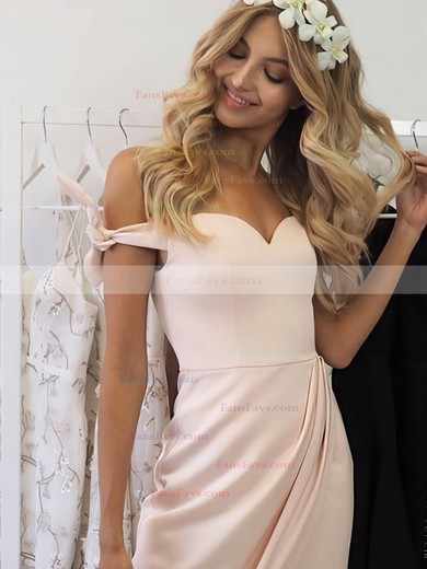 A-line Off-the-shoulder Silk-like Satin Asymmetrical Bow Prom Dresses #Favs020106040