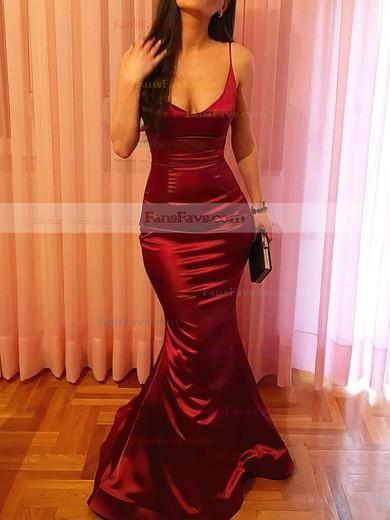 Trumpet/Mermaid V-neck Floor-length Silk-like Satin Prom Dresses #Favs020106041