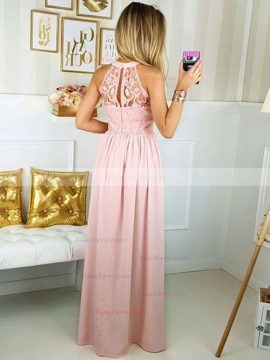 A-line Scoop Neck Floor-length Lace Chiffon Prom Dresses with Split Front #Favs020106044