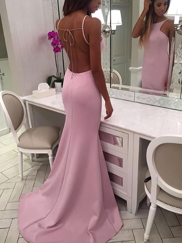 Trumpet/Mermaid Scoop Neck Sweep Train Silk-like Satin Prom Dresses #Favs020106047