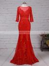 Trumpet/Mermaid Scoop Neck Tulle Floor-length Appliques Lace Prom Dresses #Favs020103022