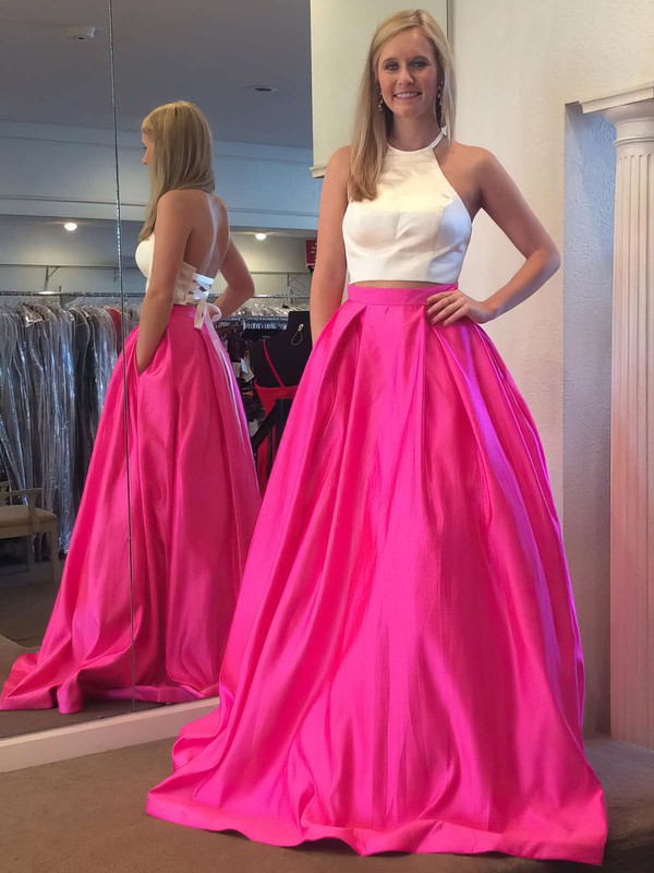 Ball Gown Halter Sweep Train Satin Prom Dresses #Favs020106051