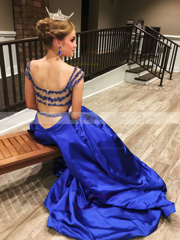 Princess V-neck Satin Sweep Train Beading Prom Dresses #Favs020106052