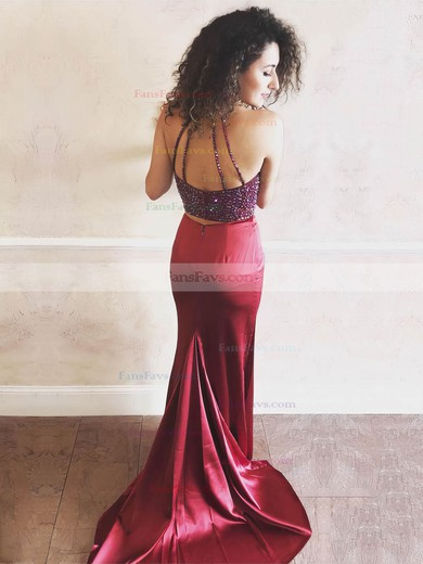 Sheath/Column Halter Sweep Train Silk-like Satin Prom Dresses with Beading #Favs020106054