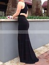 Sheath/Column Halter Jersey Floor-length Split Front Prom Dresses #Favs020106060