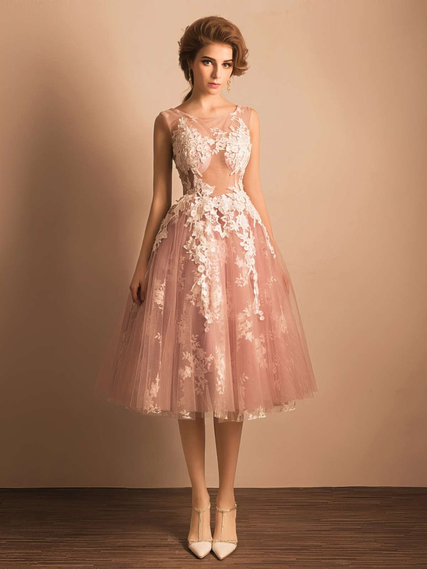 Ball Gown Scoop Neck Tea-length Tulle Prom Dresses with Appliques Lace #Favs020103045