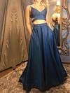 A-line V-neck Satin Floor-length Pockets Prom Dresses #Favs020106063