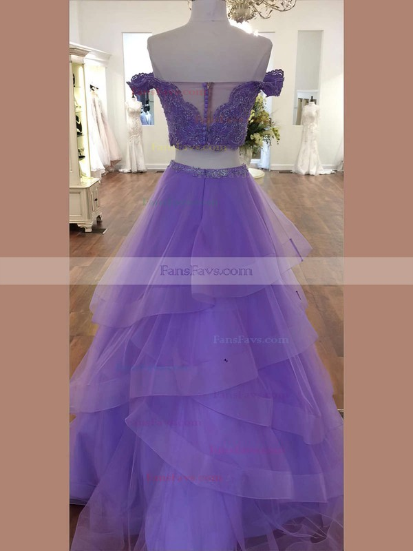A-line Sweetheart Lace Organza Floor-length Cascading Ruffles Prom Dresses #Favs020106068