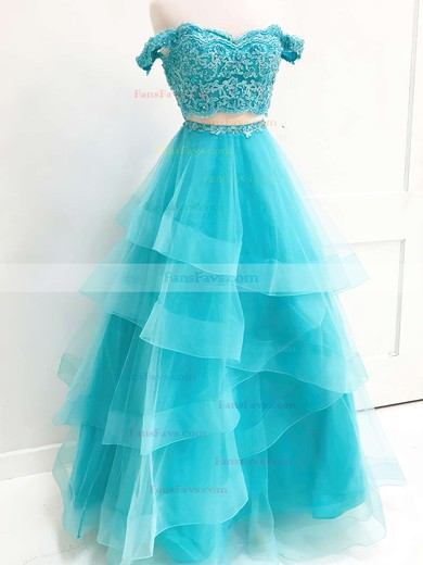 A-line Sweetheart Floor-length Organza Prom Dresses with Lace #Favs020106068