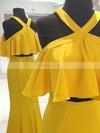 Sheath/Column Scoop Neck Jersey Floor-length Ruffles Prom Dresses #Favs020106070