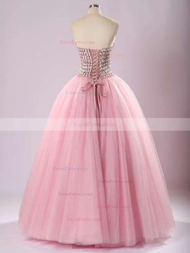 Ball Gown Sweetheart Floor-length Tulle Prom Dresses with Beading #Favs020103056