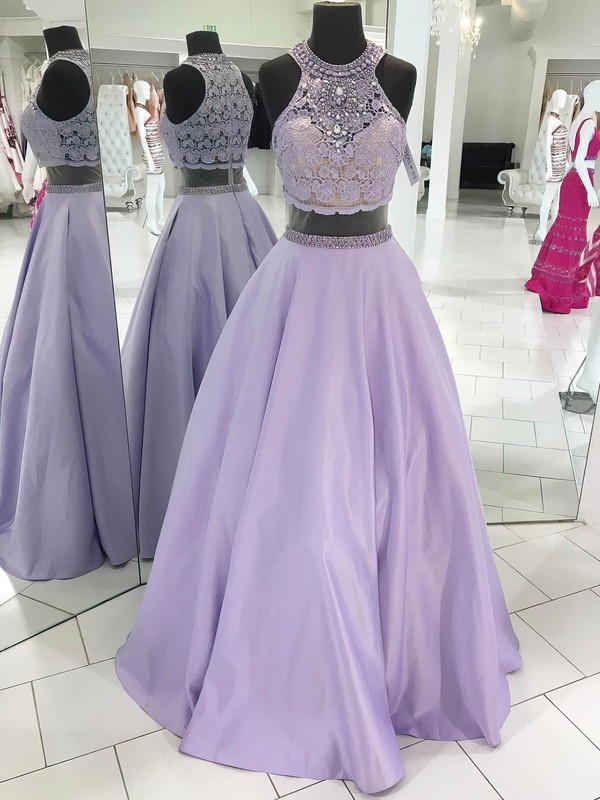 Ball Gown Scoop Neck Lace Satin Floor-length Beading Prom Dresses #Favs020106074