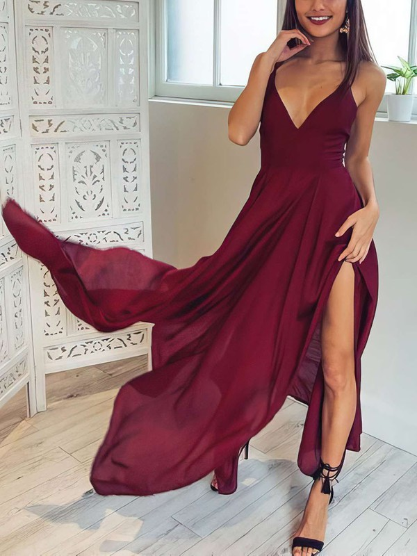 A-line V-neck Asymmetrical Chiffon Prom Dresses with Split Front #Favs020106076