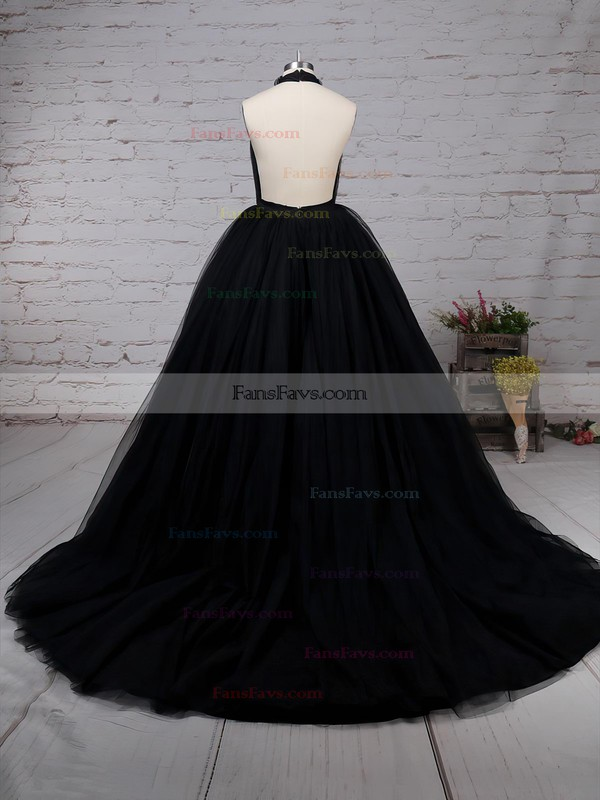 Ball Gown High Neck Sweep Train Tulle Prom Dresses with Ruffle #Favs020103088