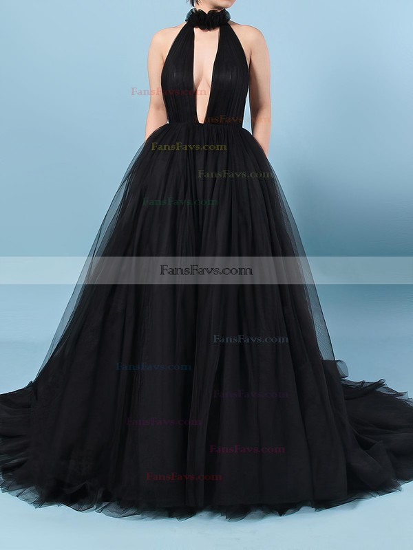 Ball Gown High Neck Tulle Sweep Train Ruffles Prom Dresses #Favs020103088