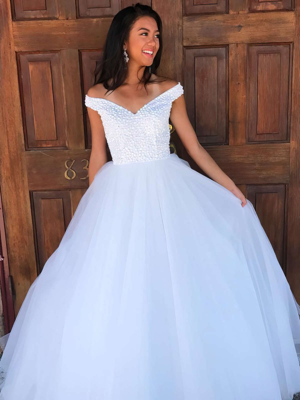 Ball Gown Off-the-shoulder Floor-length Tulle Prom Dresses with Beading #Favs020106082