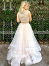 Princess Scoop Neck Tulle Floor-length Beading Prom Dresses #Favs020106086
