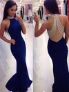 Trumpet/Mermaid High Neck Sweep Train Jersey Prom Dresses with Beading #Favs020102490