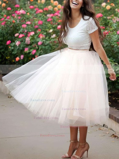 Ball Gown Scoop Neck Lace Tulle Tea-length Prom Dresses #Favs020103108
