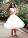 Ball Gown Scoop Neck Tea-length Lace Tulle Prom Dresses with Ruffle #Favs020103108