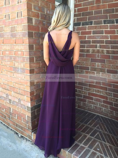 A-line V-neck Floor-length Chiffon Prom Dresses with Beading Ruffle #Favs020106091