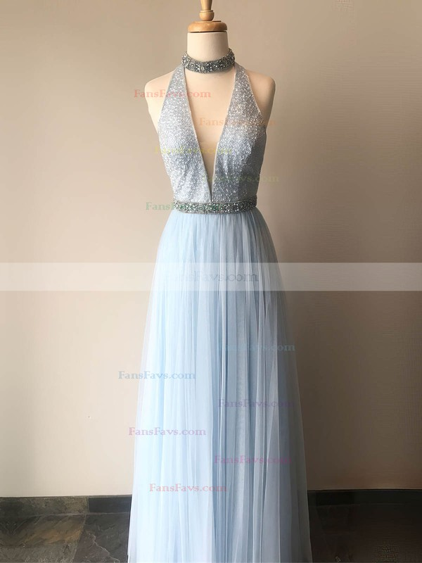 A-line High Neck Chiffon Floor-length Beading Prom Dresses #Favs020106092