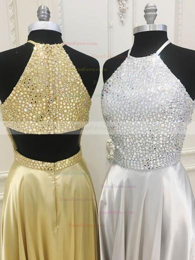 A-line Scoop Neck Silk-like Satin Sweep Train Beading Prom Dresses #Favs020106094