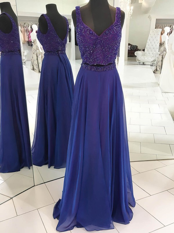 A-line V-neck Floor-length Chiffon Prom Dresses with Beading #Favs020106095