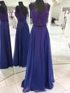 A-line V-neck Chiffon Floor-length Beading Prom Dresses #Favs020106095