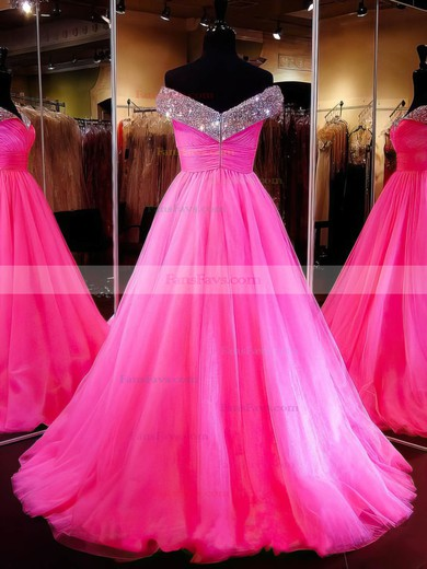 Ball Gown Off-the-shoulder Sweep Train Tulle Prom Dresses with Beading #Favs020103112
