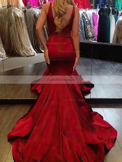Trumpet/Mermaid V-neck Sweep Train Silk-like Satin Prom Dresses with Ruffle #Favs020106101