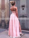 A-line V-neck Floor-length Silk-like Satin Prom Dresses with Ruffle Split Front #Favs020106103