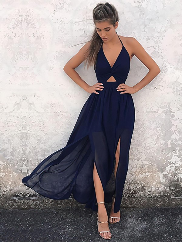 A-line Halter Ankle-length Chiffon Prom Dresses with Split Front #Favs020106104
