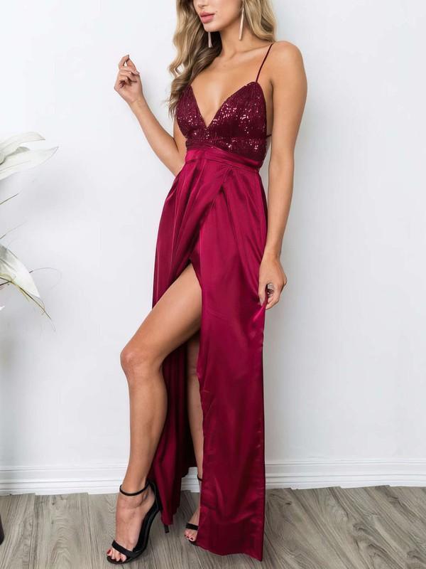 Sheath/Column V-neck Ankle-length Sequined Silk-like Satin Prom Dresses with Split Front #Favs020106105