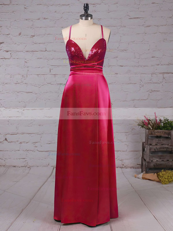 Sheath/Column V-neck Ankle-length Sequined Silk-like Satin Prom Dresses with Split Front #Favs020106105