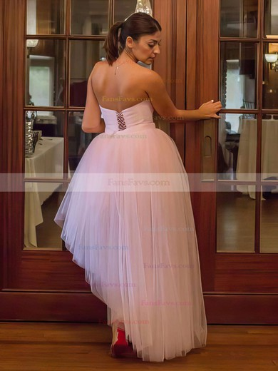 Ball Gown Sweetheart Asymmetrical Tulle Prom Dresses with Beading Sashes #Favs020106106