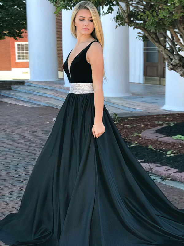 Ball Gown V-neck Sweep Train Satin Prom Dresses with Beading #Favs020106110
