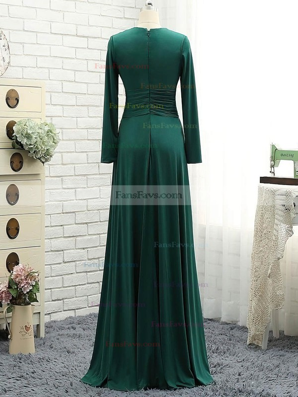 A-line Scoop Neck Jersey Floor-length Ruffles Prom Dresses #Favs020106111