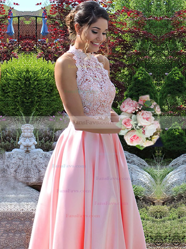 Princess High Neck Lace Satin Floor-length Beading Prom Dresses #Favs020105044
