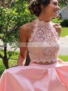 Princess High Neck Floor-length Lace Satin Prom Dresses with Beading #Favs020105044