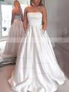 Princess Strapless Satin Floor-length Beading Prom Dresses #Favs020105052