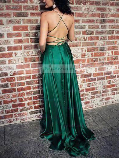 A-line Scoop Neck Silk-like Satin Sweep Train Pockets Prom Dresses #Favs020105078