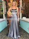 A-line Scoop Neck Sweep Train Satin Prom Dresses with Split Front #Favs020105078