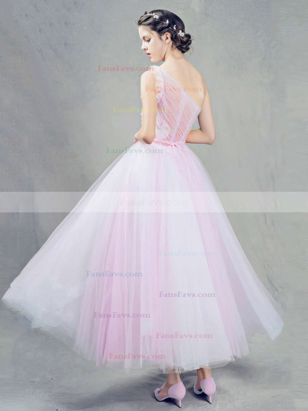 Ball Gown One Shoulder Tulle Ankle-length Beading Prom Dresses #Favs020103243