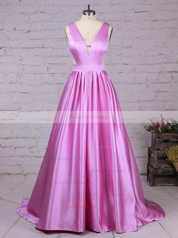 Princess V-neck Satin Sweep Train Pockets Prom Dresses #Favs020105088