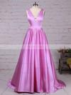 Princess V-neck Sweep Train Satin Prom Dresses with Ruffle #Favs020105088